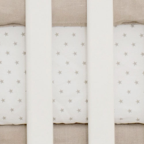 Khaki Star Crib Sheet | Washed Linen in Flax Collection