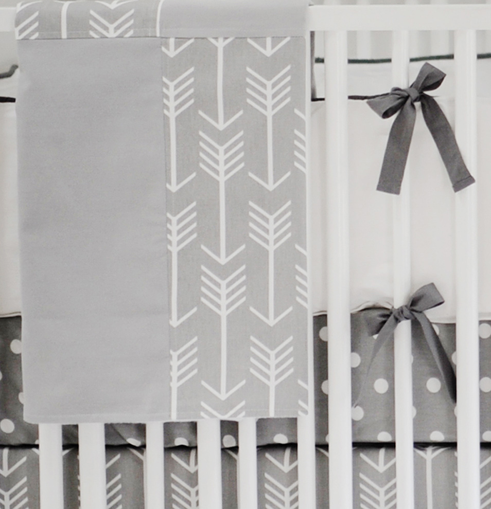 Gray Arrow Baby Blanket | Wanderlust in Gray Crib Collection
