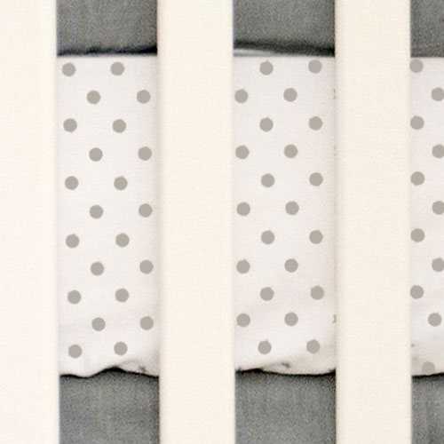 Polka Dot Sheet | Washed Linen in Gray Crib Collection