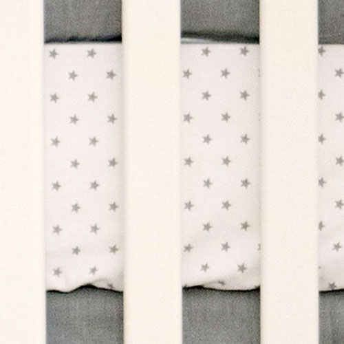 Mini Star Gray Crib Sheet |  Washed Linen in Gray Collection