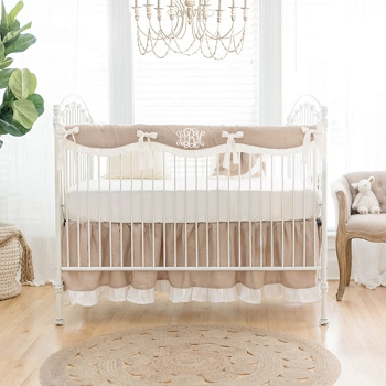 Girl Nursery Bedding | Washed Linen in Natural Collection