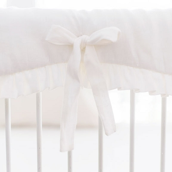 Washed White Linen Crib Rail Cover with Ruffle