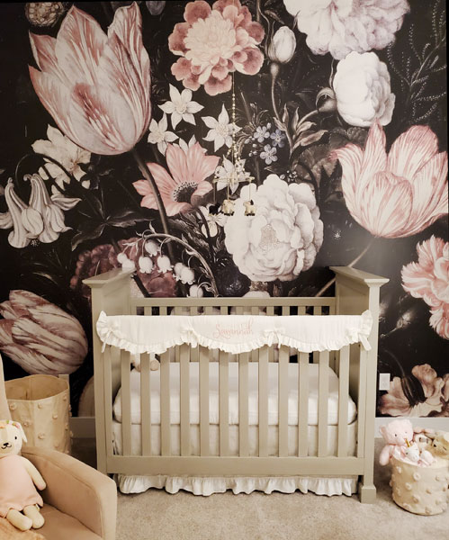 baby girl white crib bedding