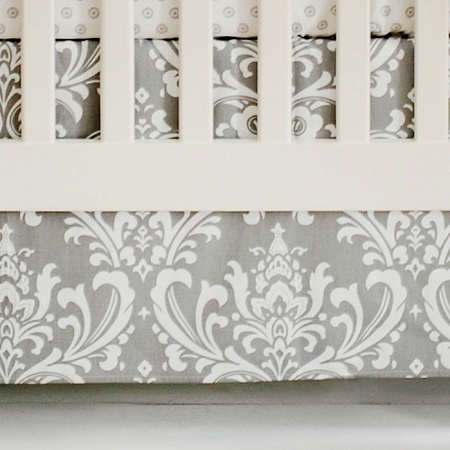 Damask Gray Nursery Dust Ruffle | Wisteria Collection