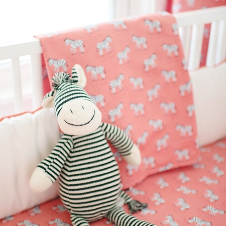 Coral Baby Blanket | Zebra Parade in Coral Crib Collection