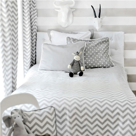Gray Chevron Twin Size Coverlet  |  Zig Zag Baby in Gray Crib Collection