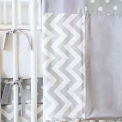 Chevron Baby Crib Blanket | Zig Zag in Gray Bedding Collection