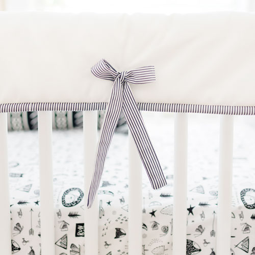 White & Black Crib Rail Cover | Adventure Awaits Collection
