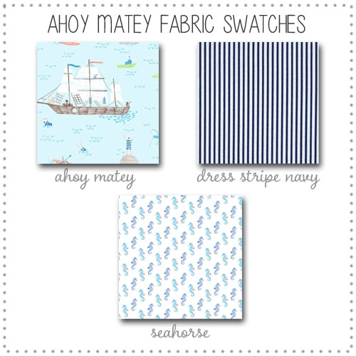 Ahoy Matey Crib Collection Fabric Swatches Only