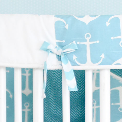Aqua and White Crib Rail Guard | Anchors Away in Aqua Collection
