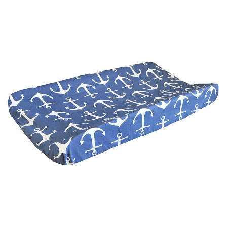 Navy Nautical Changing Pad Cover | Anchors Away in Navy Crib Collection