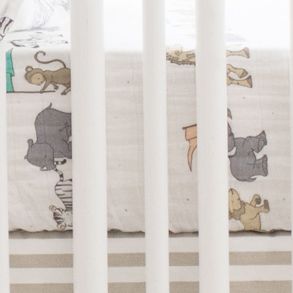 Neutral Muslin Crib Sheet | Animal Parade Collection