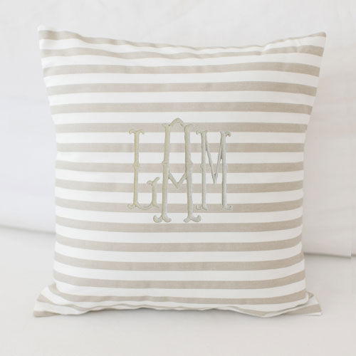 Ecru and White Stripe Pillow | Animal Parade Crib Collection