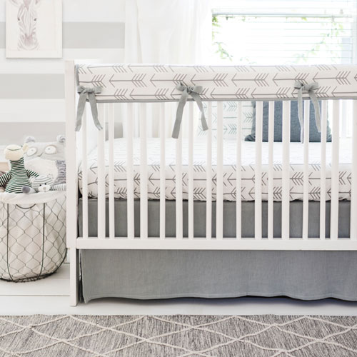 Grey Arrow Crib Bedding | Be Brave in Gray Collection
