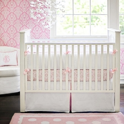 Pink and White Crib Bedding | White Pique in Pink Collection