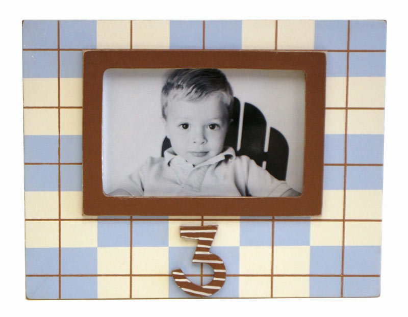 3rd Birthday Frame in Blue and Chocolate