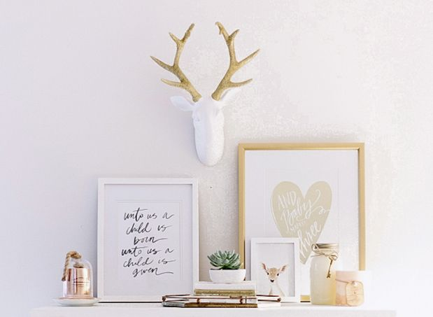 Gold wall décor is everywhere great finds on etsy or at homegoods target and hobby lobby pick up some inexpensive wall art frames and more