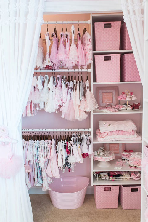 Baby Lola S Closet Is Any Little Dream Her Dresser And Changing Table Have Been Tucked Into A Sweetly Decorated E Behind Some Adorable Curtains