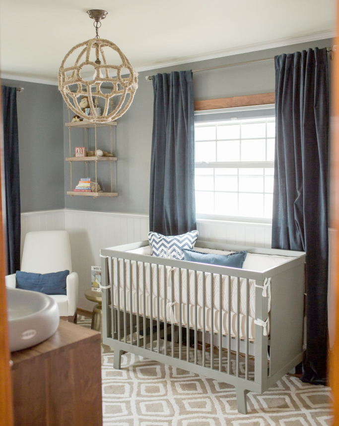 Navy Gray And Khaki Are Sophisticated Colors For A Baby Boy S Room The Mix Of Solid Patterns In Is Stunning Nautical Nursery