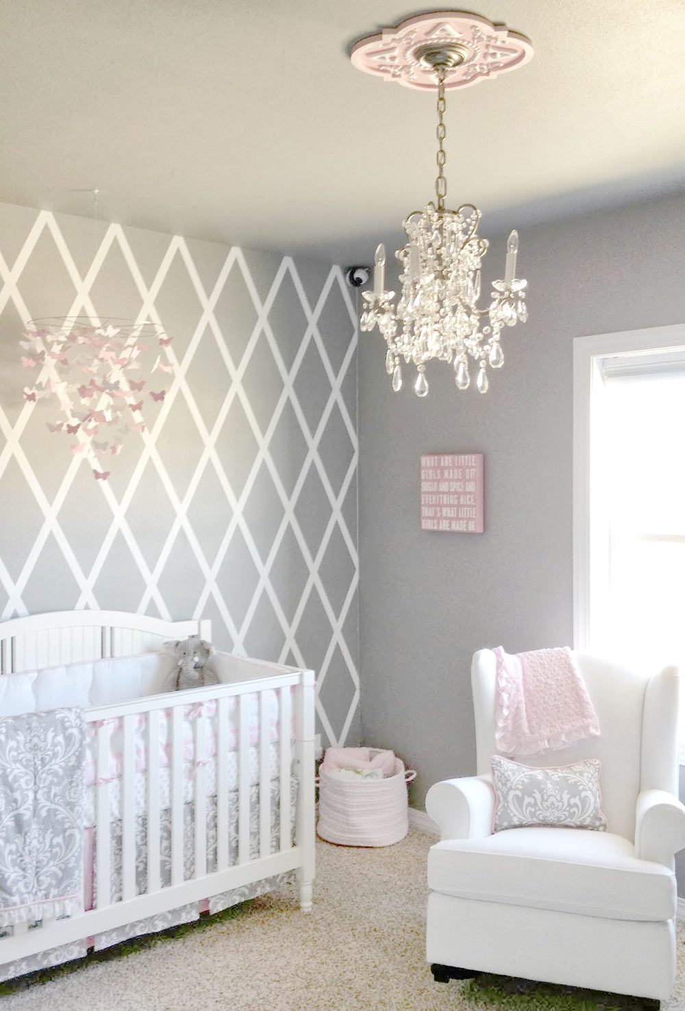 pink and grey nursery & Pink and Grey Crib Bedding