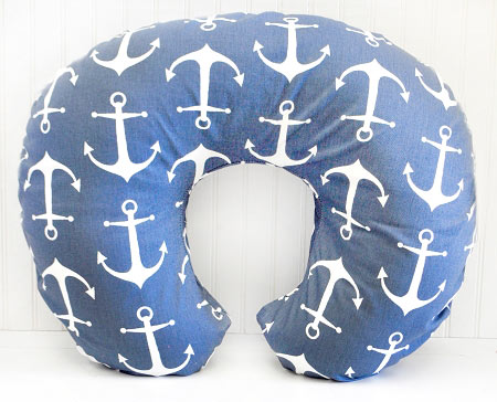 Navy Anchor Nursing Pillow Slipcover | Anchors Away in Navy Collection