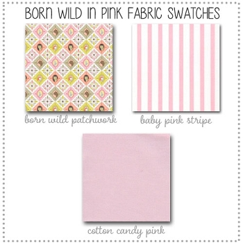 Born Wild in Pink Crib Bedding Collection Fabric Swatches Only