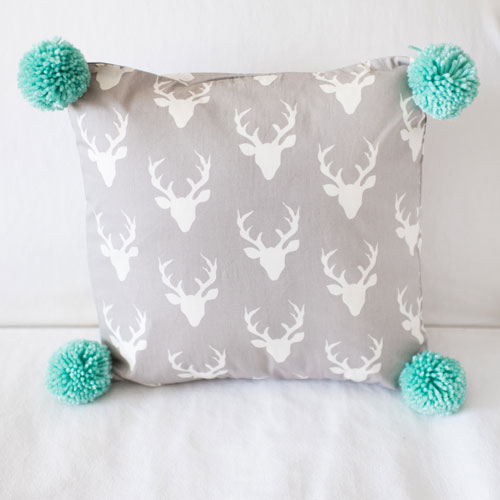 Gray Deer Pillow with Pom Poms | Buck Forest in Mist Crib Collection