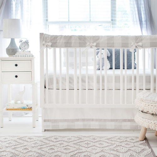 Grey Buffalo Plaid Baby Bedding Crib Collection