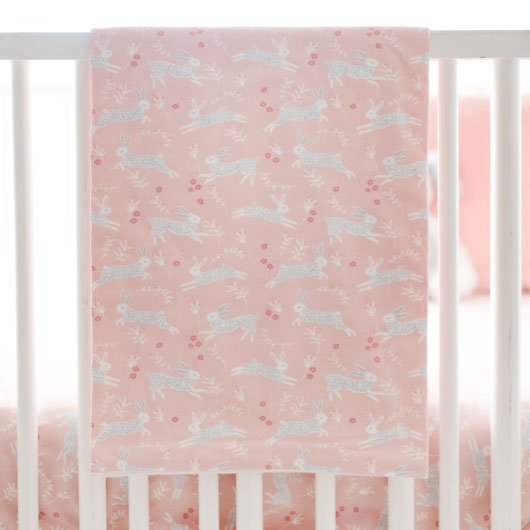 Peach Crib Blanket | Bunny Hop Bedding Collection