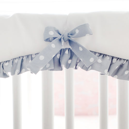White and Gray Crib Rail Cover with Polka Dot Ruffle