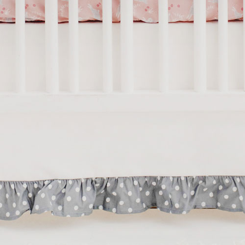 White Crib Skirt with Gray Polka Dot Ruffle