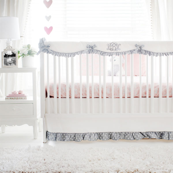 Bunny Baby Bedding | Bunny Hop in Peach Crib Collection