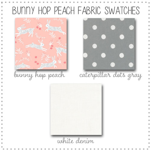 Bunny Hop in Peach Crib Collection Fabric Swatches Only