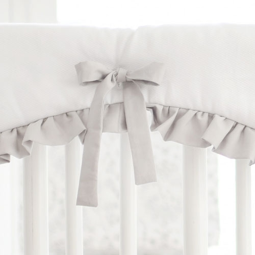 White and Gray Crib Rail Cover with Ruffle | Bunny Love Bedding Collection
