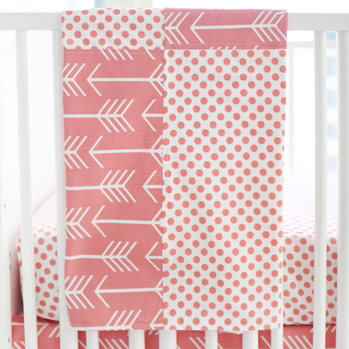 Coral Arrow Baby Blanket | Wanderlust in Coral Crib Collection