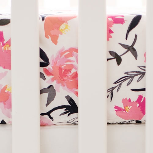 Floral Crib Sheet | Rosewater in Coral Collection
