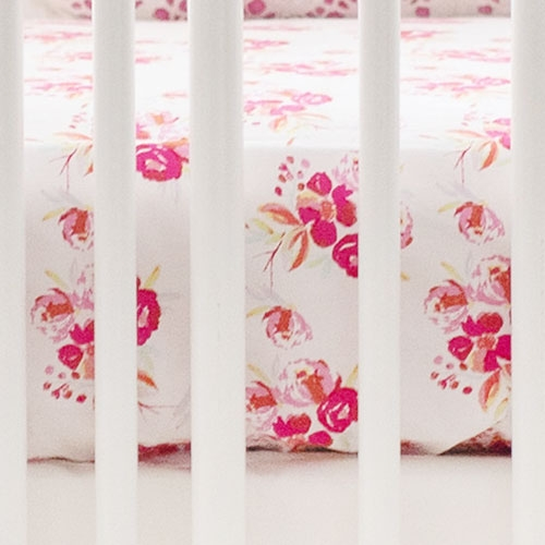 Floral Crib Sheet | Pink Corsage Charm Collection