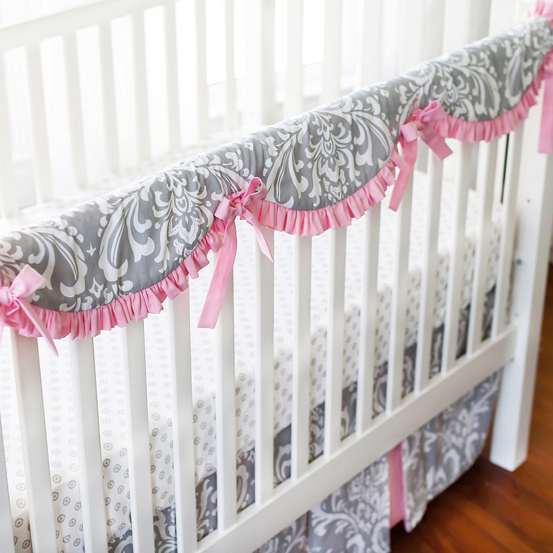 Pink and Gray Crib Rail Cover Set | Pink Baby Bedding ...