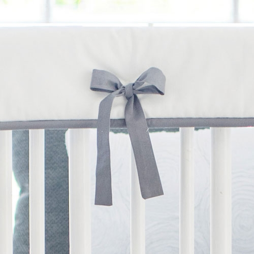 White and Gray Crib Rail Cover