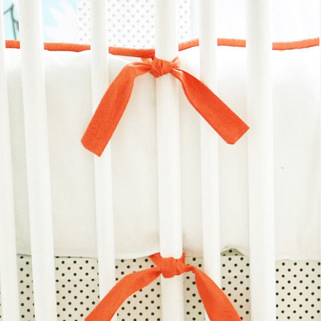White and Orange Crib Bumper | Feather Your Nest in Aqua Crib Collection