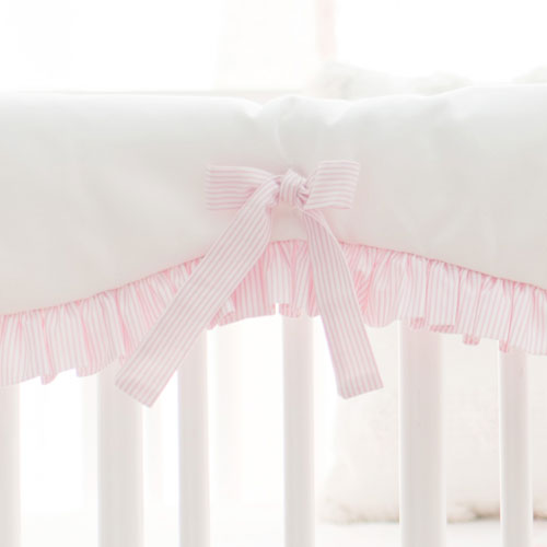 White and Pink Crib Rail Cover with Ruffle | Pink Flamingo Bedding Collection