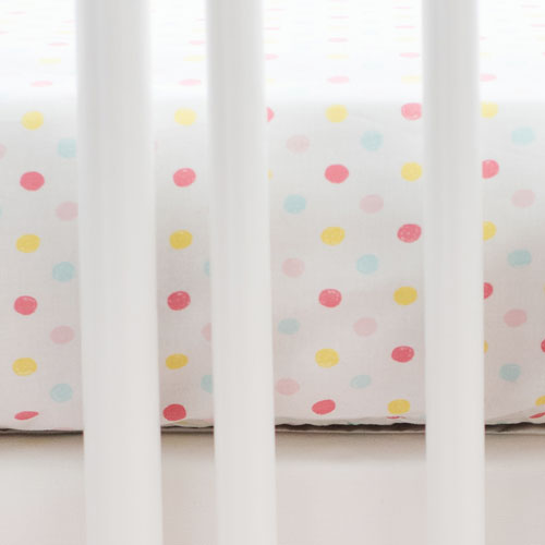 White Sprinkle Crib Sheet | Flamingo Baby Collection