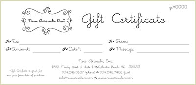 New Arrivals, Inc. Gift Certificates