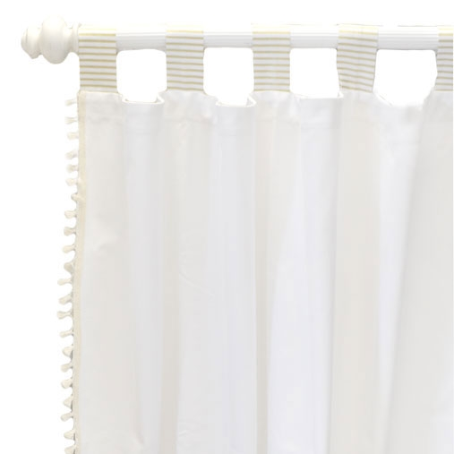 White and Gold Curtains with Cotton Tassels | Gold Dust Crib Collection