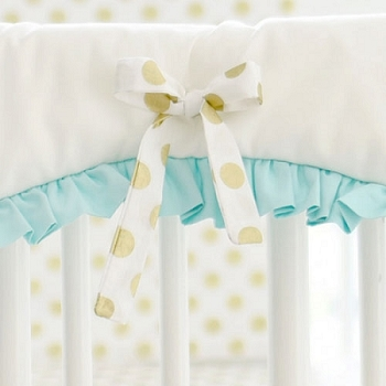 White Crib Rail Cover with Mint Ruffle & Gold Polka Dot Ties