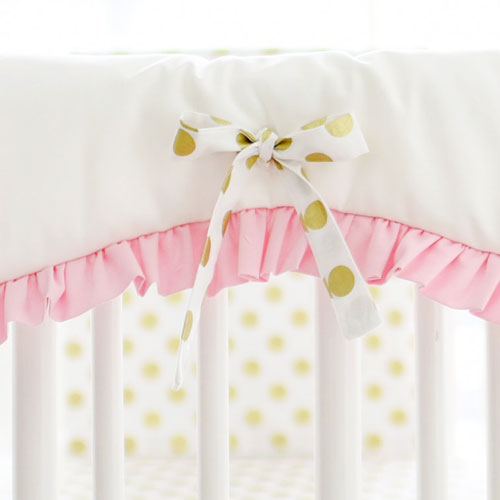 White Crib Rail Cover with Pink Ruffle & Gold Polka Dot Ties