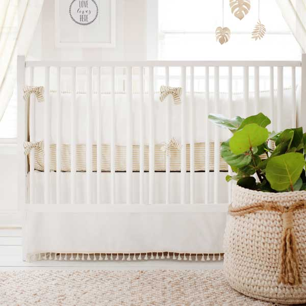 Unisex White Nursery Crib Bedding | Gold Dust Collection