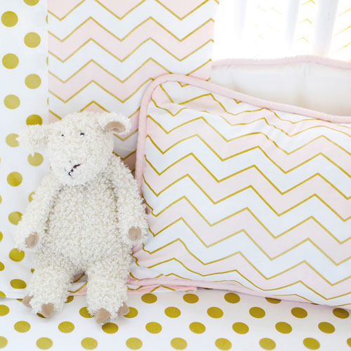 Pink and Gold Chevron Pillow | Gold Rush in Pink Crib Collection