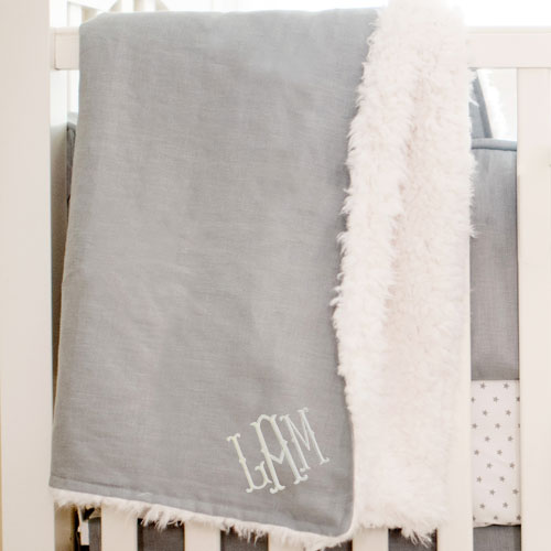 Gray Faux Fur Linen Baby Blanket | Washed Linen in Gray Crib Collection