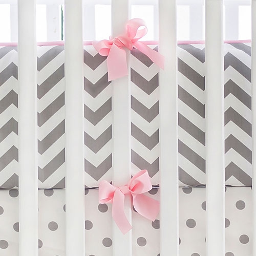 Gray and Pink Chevron Bumper